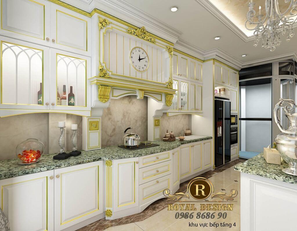 Thiết kế nội thất phòng bếp ăn tân cổ điển màu trắng dát vàng tầng 4