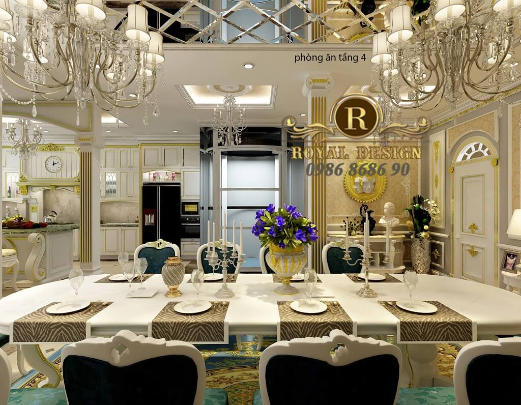 Thiết kế nội thất phòng bếp ăn tân cổ điển màu trắng dát vàng tầng 4, bàn ghế ăn tân cổ điển 10 ghế