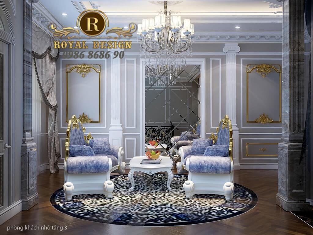 thiết kế nội thất phòng khách phụ tân cổ điển màu gỗ dát vàng điểm họa tiết, bộ sofa hoàng gia hoành tráng