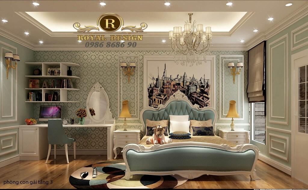 Thiết kế phòng ngủ con gái tầng 3 15m2