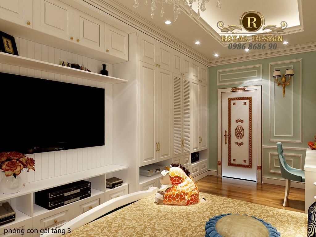 thiết kế nội thất phòng ngủ con gái tân cổ điển 15m2, 20m2