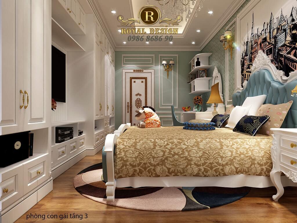 thiết kế nội thất phòng ngủ con gái tân cổ điển màu xanh