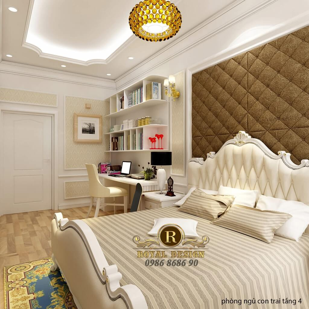 thiết kế nội thất phòng ngủ con trai tân cổ điển 1