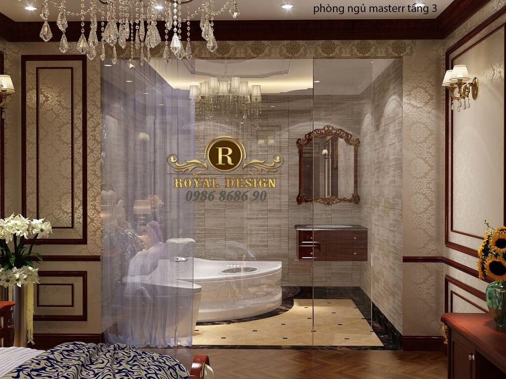 thiết kế phòng ngủ master tân cổ điển màu gỗ gõ đỏ dát vàng họa tiết 2