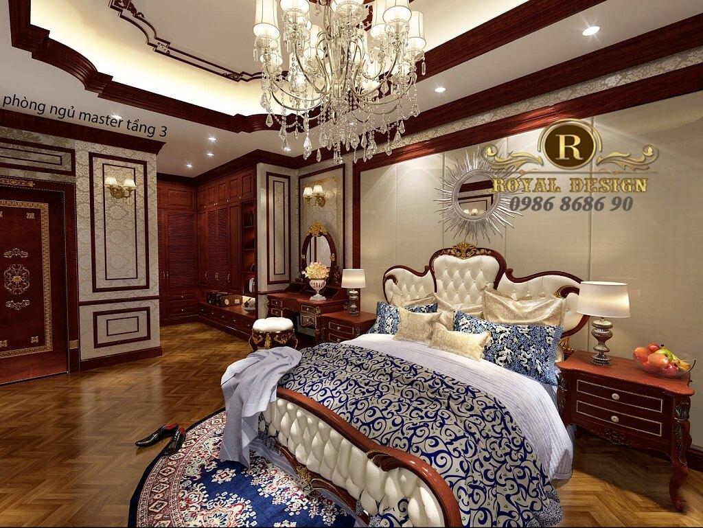 thiết kế phòng ngủ master tân cổ điển màu gỗ gõ đỏ dát vàng họa tiết 1