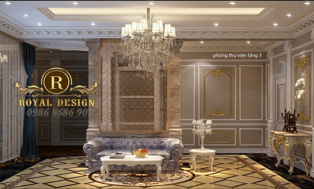 thiết kế nội thất phòng thư viện tân cổ điển dát vàng điểm họa tiết, bộ sofa hoàng gia hoành tráng 1