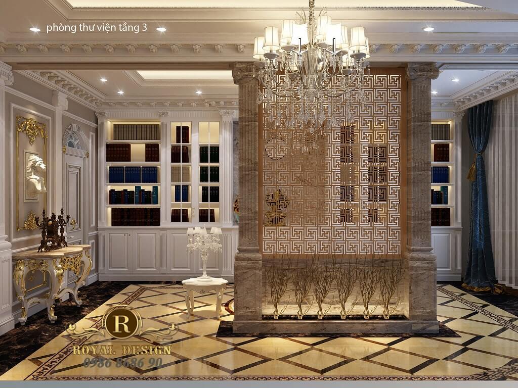 thiết kế nội thất phòng thư viện tân cổ điển dát vàng điểm họa tiết 1