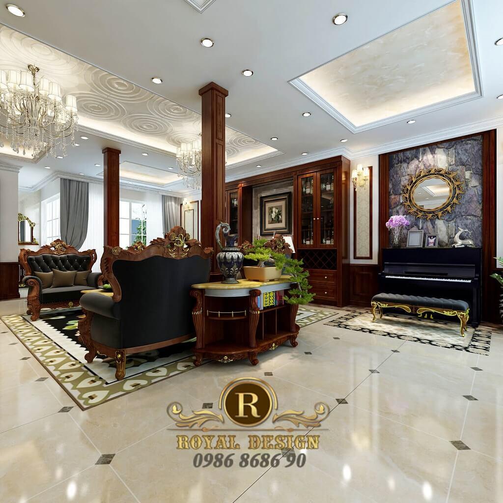 thiết kế nội thất phòng khách tân cổ điển màu gỗ dát vàng điểm họa tiết, view nhìn từ cửa vào