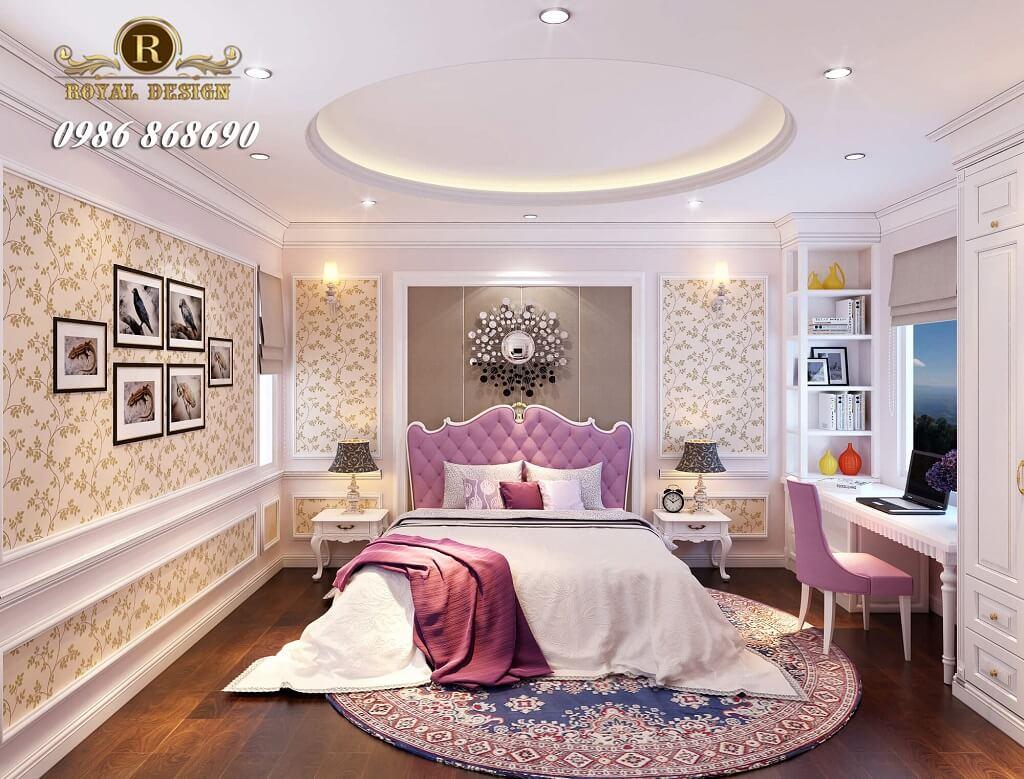 Phòng ngủ con gái tân cổ điển màu hồng