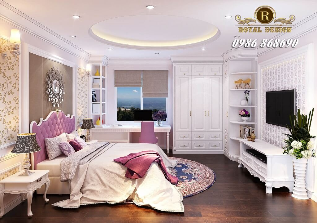 Giường ngủ tân cổ điển con gái màu hồng